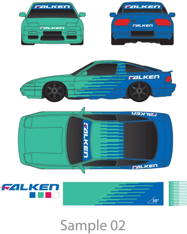 Sweetattackkk falken 180sx drift car sticker artwork