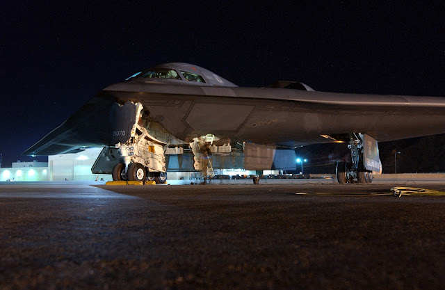 A B-2 Spirit bomber sits on the ramp