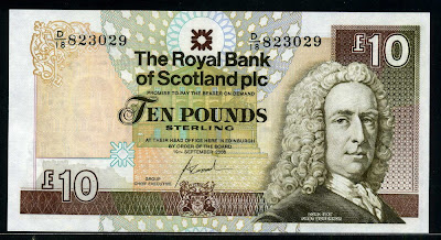 Royal Bank of Scotland currency banknotes Ten Pounds Sterling banknote
