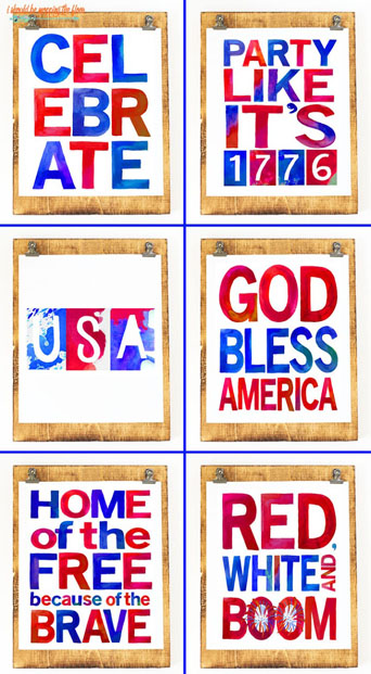 My Bundle of SIX Watercolor Patriotic Printables: