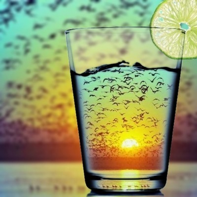 sunset in a glass, amazing vacation picture