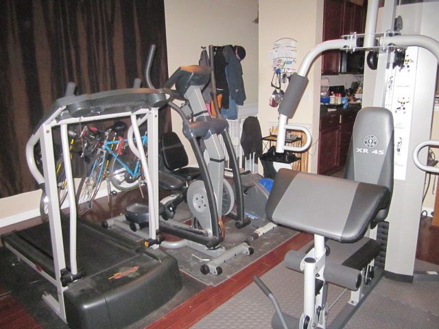 Amateur domestic tidying adding equipment to the gym