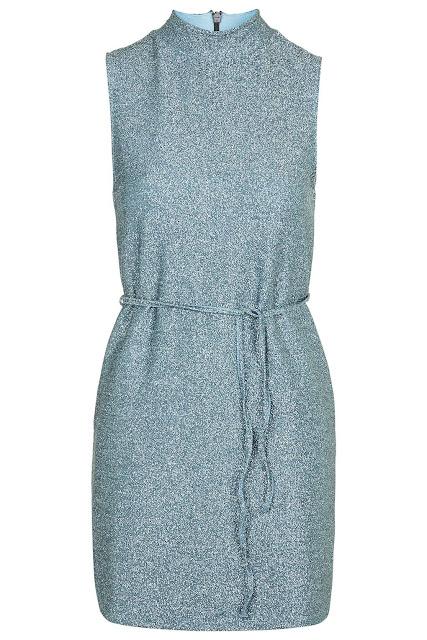 blue sparkle dress, blue high neck dress,