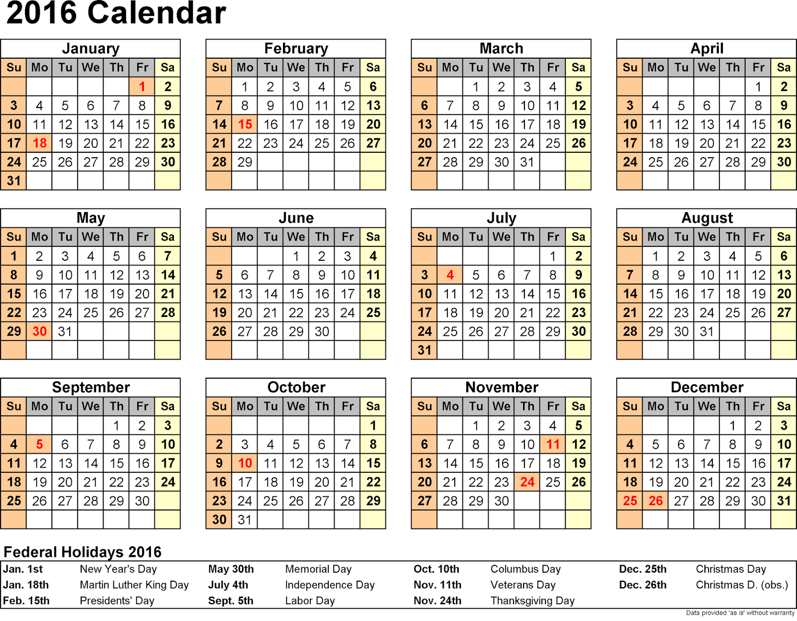 2016 Calendar with Federal Holidays, 2016 Calendar with Bank Holidays ...