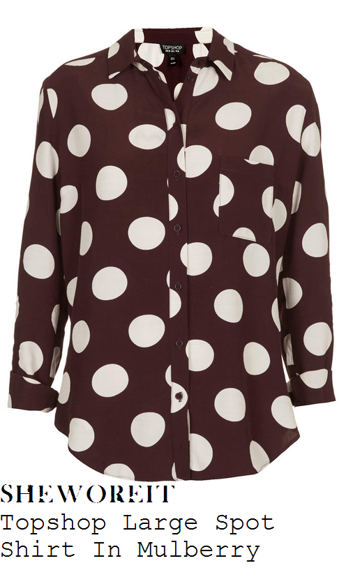 michelle-keegan-mulberry-burgundy-dark-purple-and-white-cream-oversized-large-spot-polka-dot-print-long-sleeve-button-up-collared-shirt