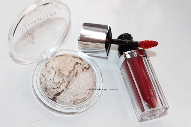 Accessorize Merged Eyeshadow in Moon Dust and Maybelline lip polish glam 12