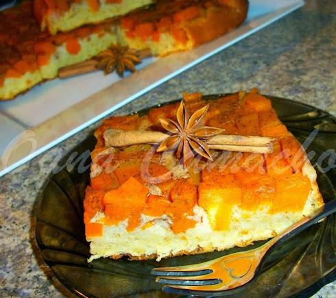 PRAJITURA RASTURNATA CU DOVLEAC ( UPSIDE DOWN PUMPKIN CAKE )