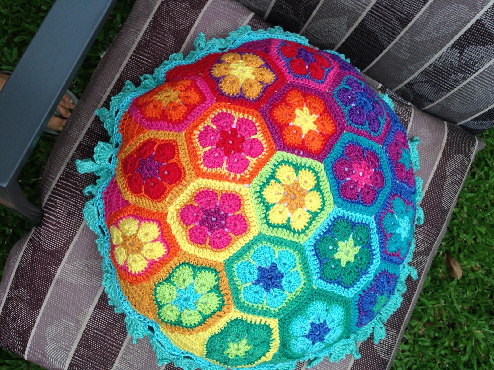 Faerytale Crochet: Rainbow African Flower Pillow