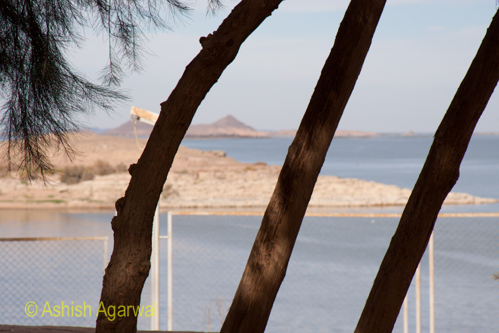 Trees blocking a view of the water near the Abu Simbel temple in South Egypt