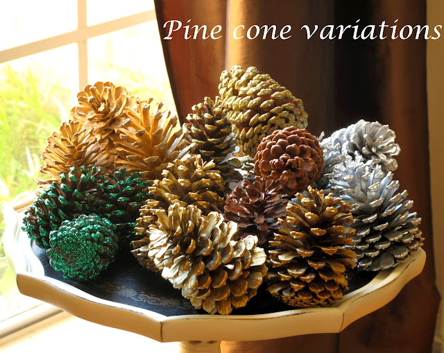 Just judy decorating with pine cones for Christmas decorations using pine cones