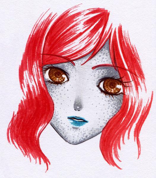 Visage féminin à la peau grise et aux cheveux rouges