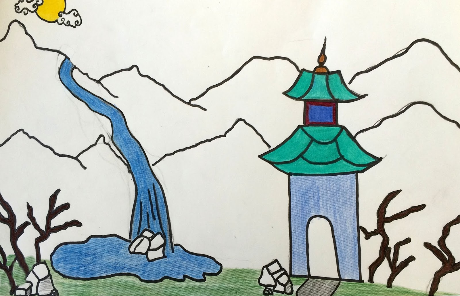 Student art gallery chinese landscape drawings by fifth grade students