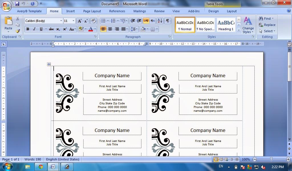 Cara Mudah Membuat Kartu Nama Dengan Microsoft Word Tutorial Komputer