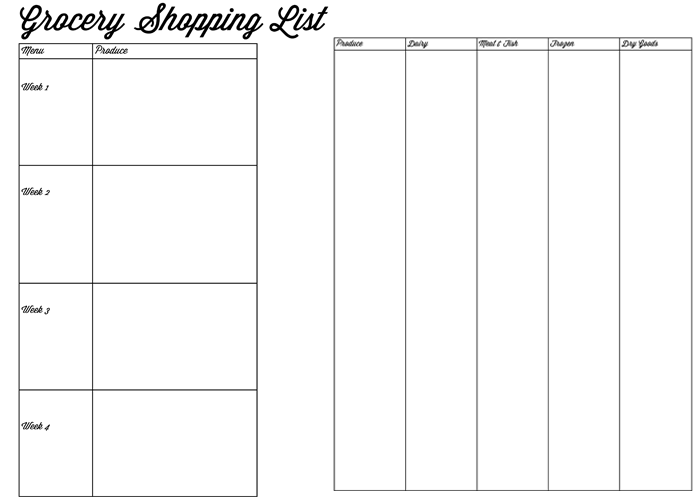 grocery shopping list printables