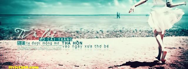 Ảnh bìa Facebook biển & tâm trạng - cover FB timeline, bước chân chạy tìm lại bờ cát trắng của con gái