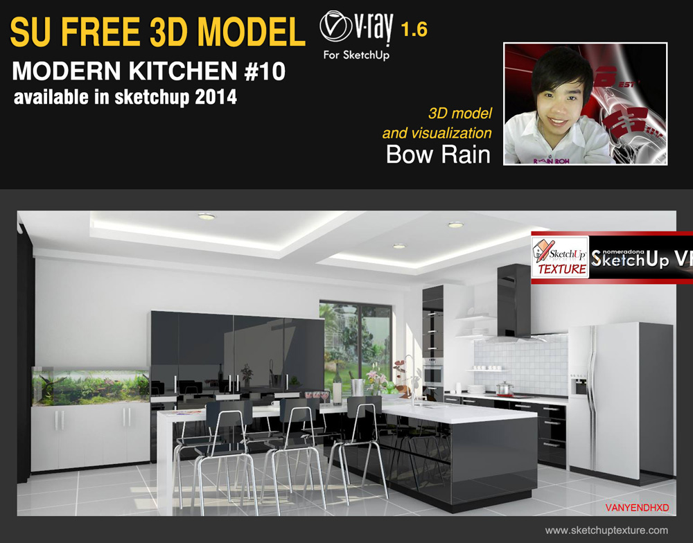 sketchup free 3d model modern kitchen #10vray setting