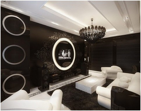 modern dining room black and white