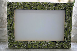 Polymer clay retro cane picture frame