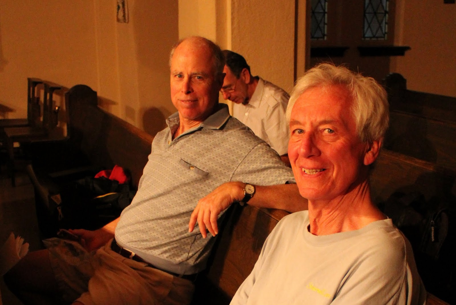 Bill and Keith, Basses, relax at Cantate Domino recording session