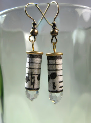 Bullet Earrings with Sheet Music