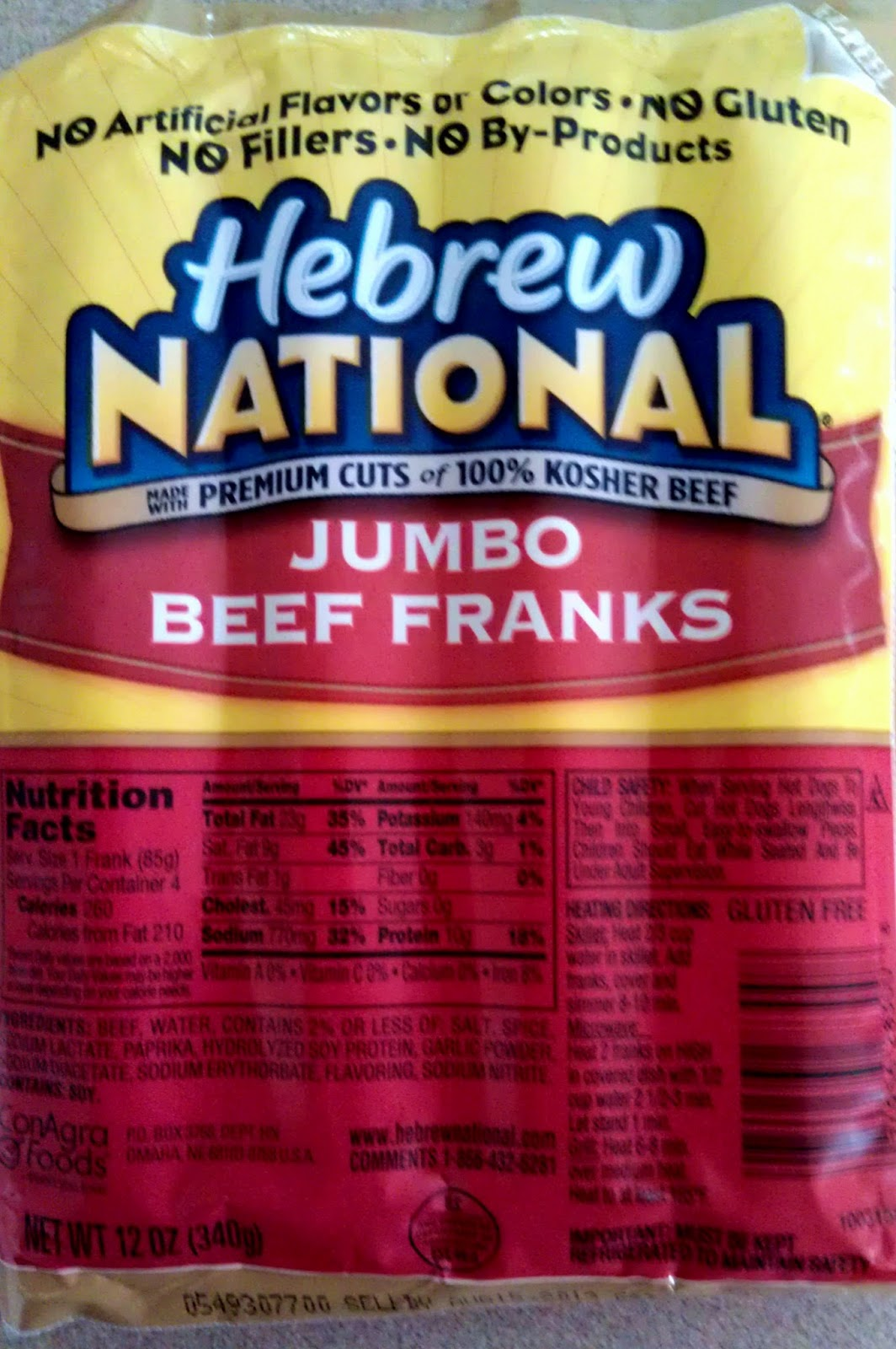 Hebrew National Light Hot Dogs Nutrition
