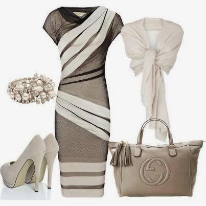 Stylish dress, scarf, high heels and handbag