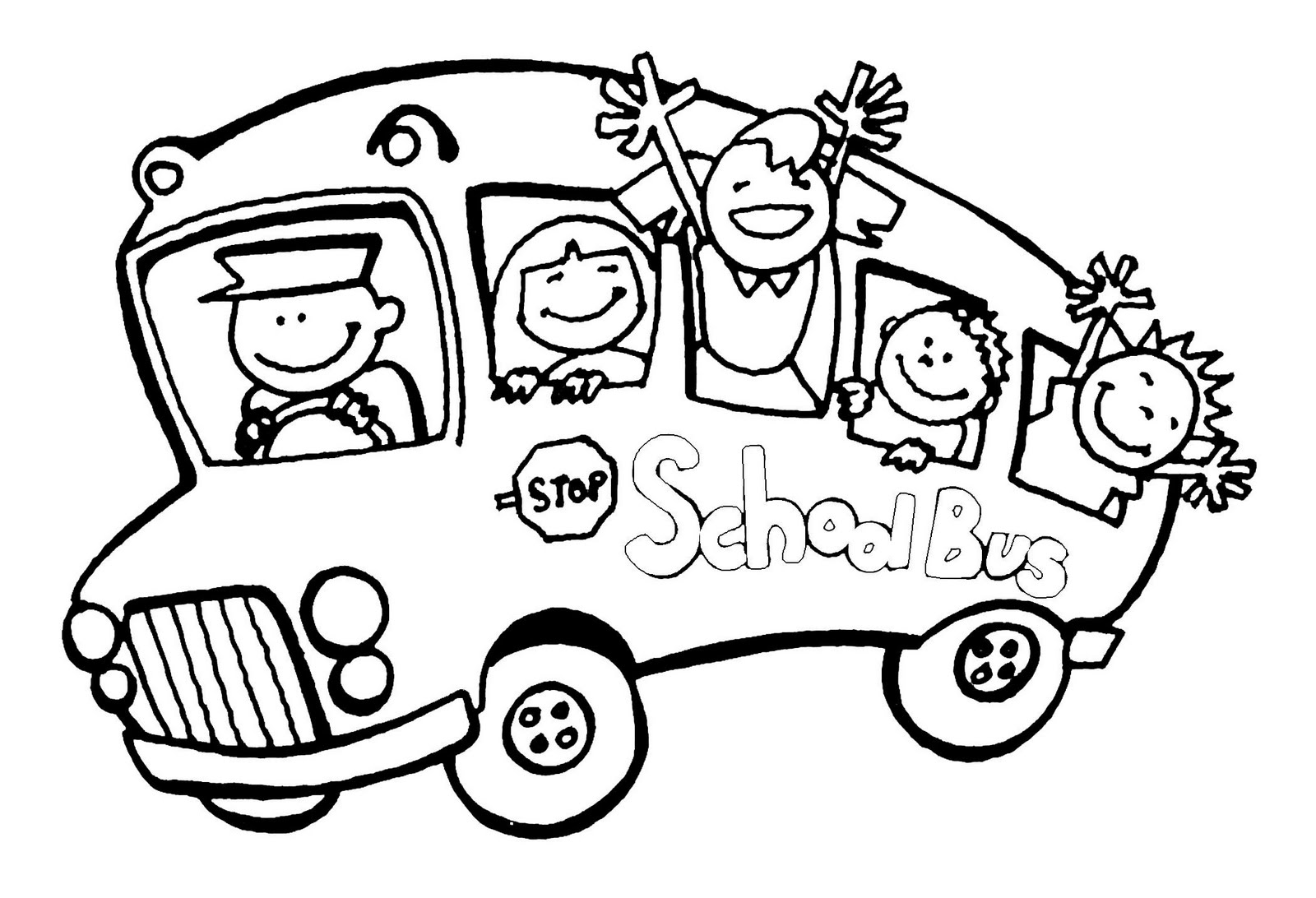 Printable Coloring Pages School Bus Cartoon Kids