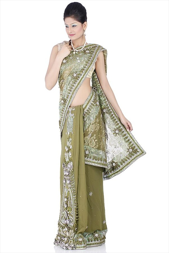 Leaf Green Net Saree