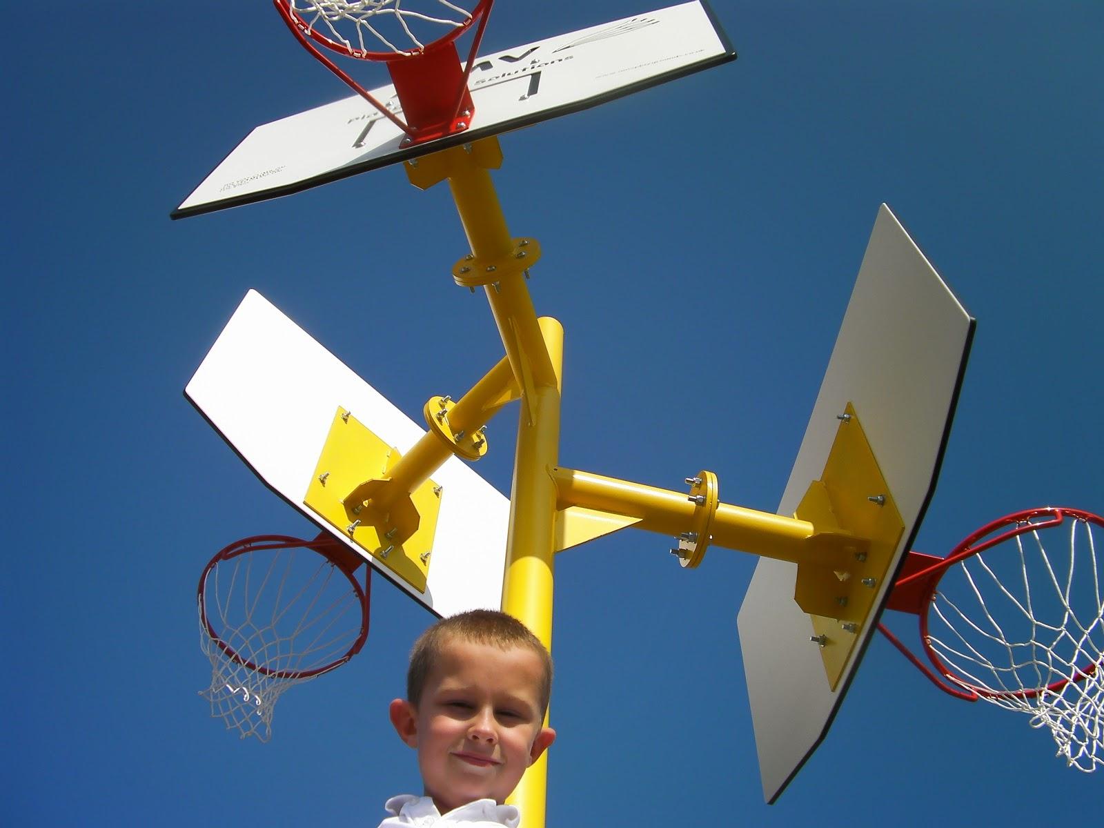 triple hoop basketball game school playground
