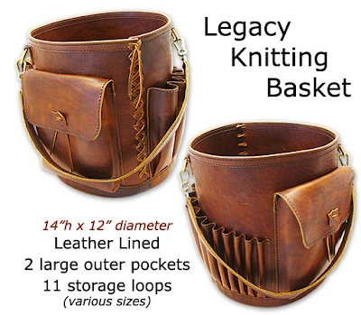 leather knitting basket