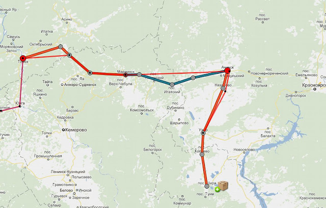 маршрут Томск-Шира, едем на авто