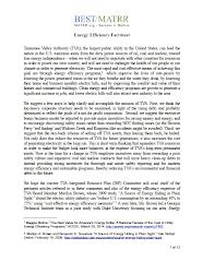 Energy Efficiency Fact Sheet Focus on TVA
