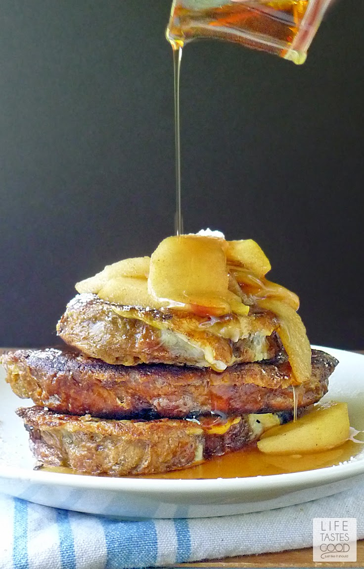 Apple Cinnamon French Toast | by Life Tastes Good is a real crowd pleaser. French Toast is fairly simple to make, and you can change up the flavors by adding delicious sauteed apples. #Breakfast