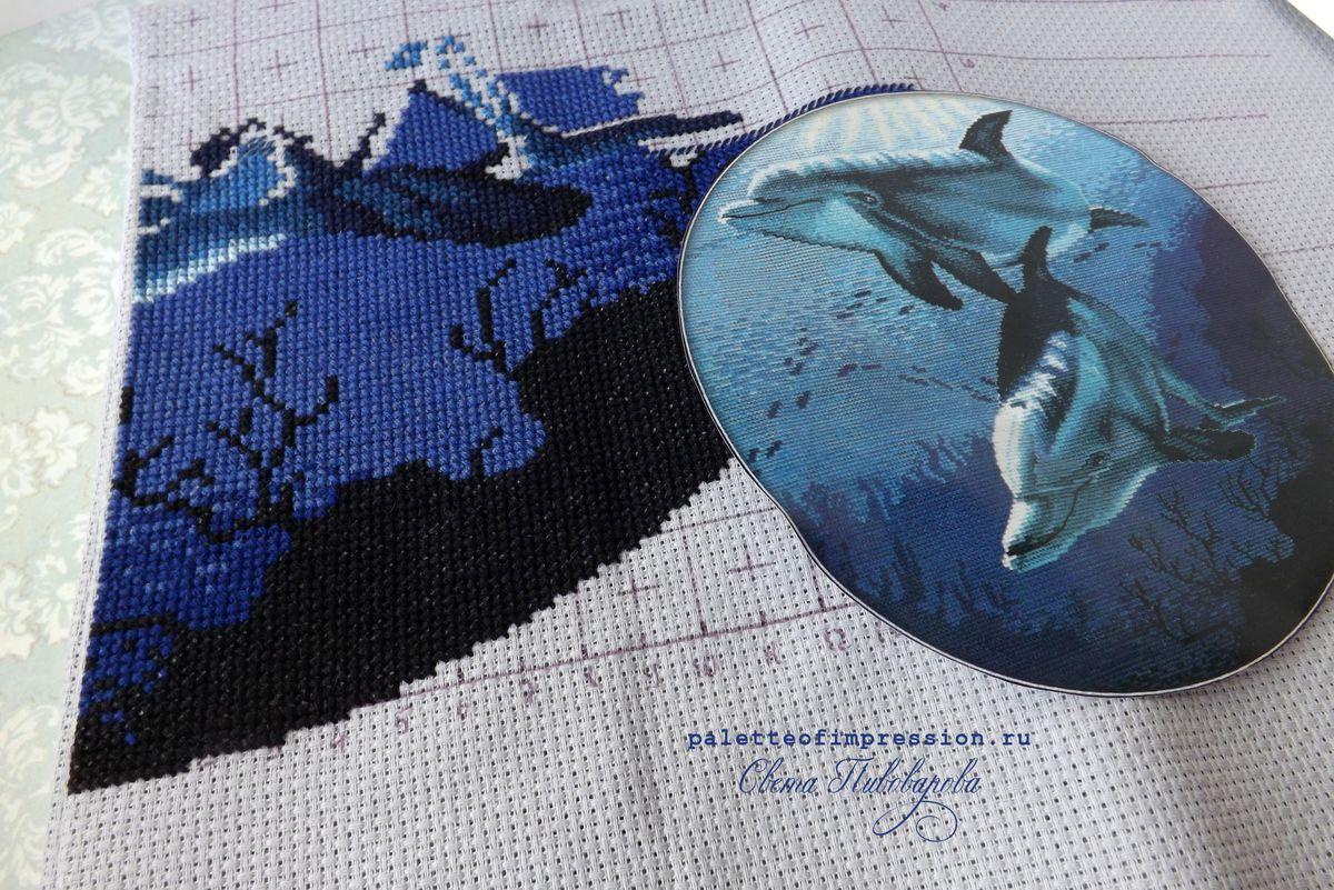 Вышивка крестом Дельфины, набор RTO. Проект рабочее место, блог Вся палитра впечатлений