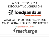 Freecharge Rs 100 voucher on Purchases of Rs 500+ at Jabong