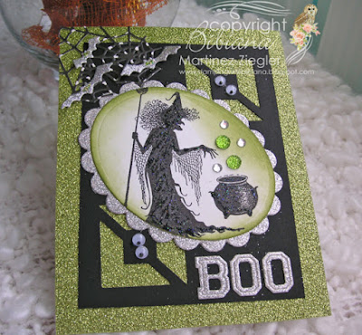 Halloween in green with Lavinia witch stamp last view