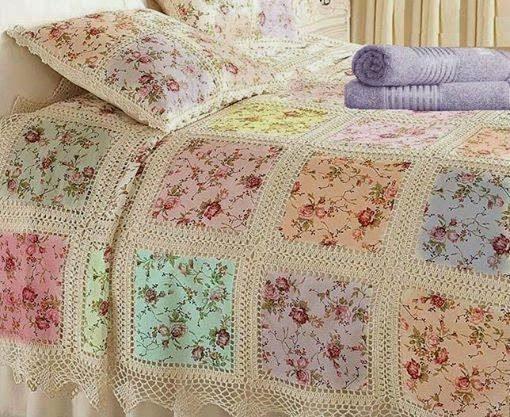 Cubrecama vintage combinando tela y crochet | Crochet y Dos agujas