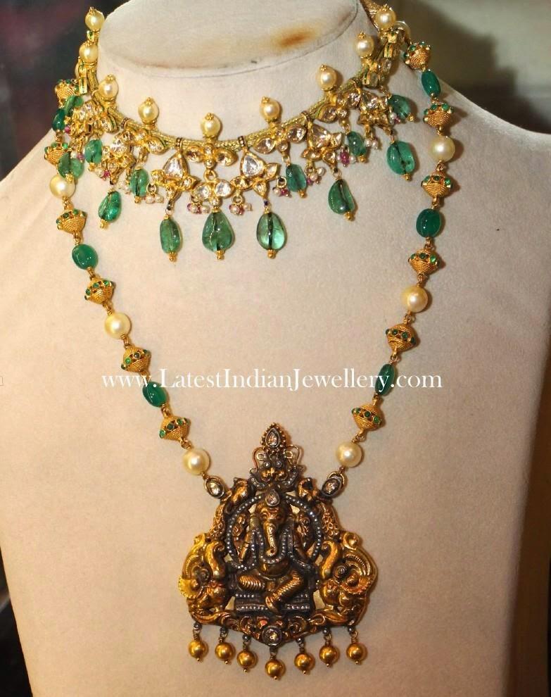 Ganesh Pendant Haram and Kundan Choker