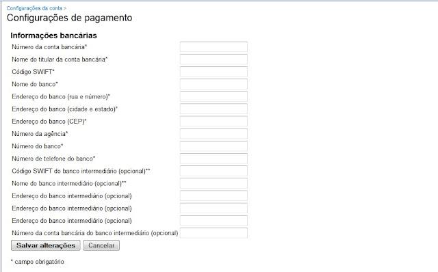 IMAGEM: Print do formulário para receber o pagamento do AdSense