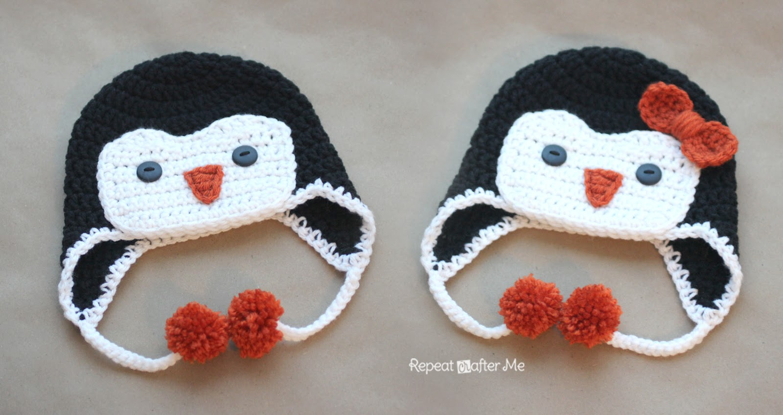 Crochet Pattern Free Penguin : Crochet Penguin Hat Pattern - Repeat Crafter Me