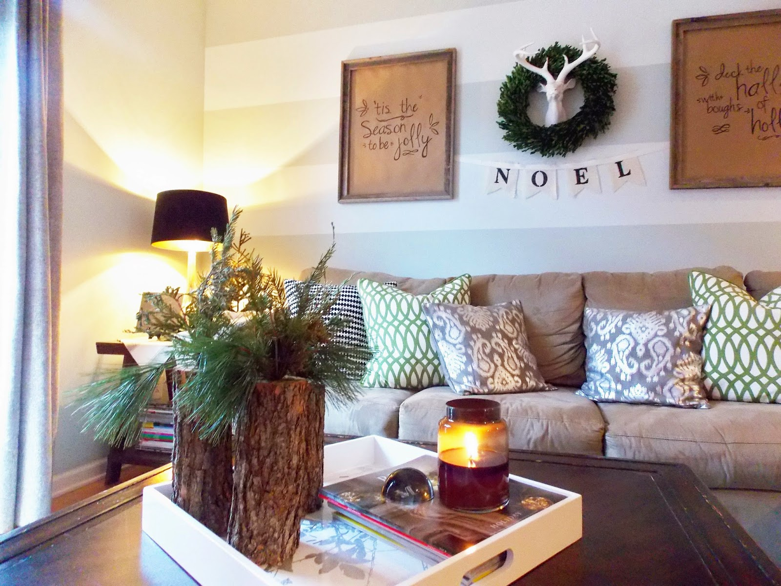 DIY Tree Stump Vase Holiday Arrangement