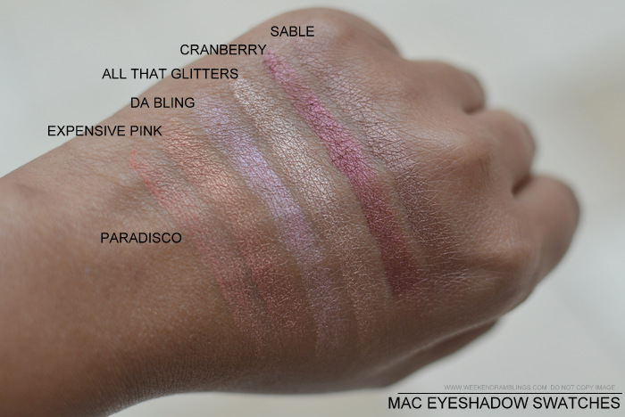 MAC Eyeshadows Swatches Darker Indian Skin NC45 Must Have Best Neutral Makeup Beauty Blog Pradisco Expensive Pink Da Bling All That Glitters Cranberry Sable