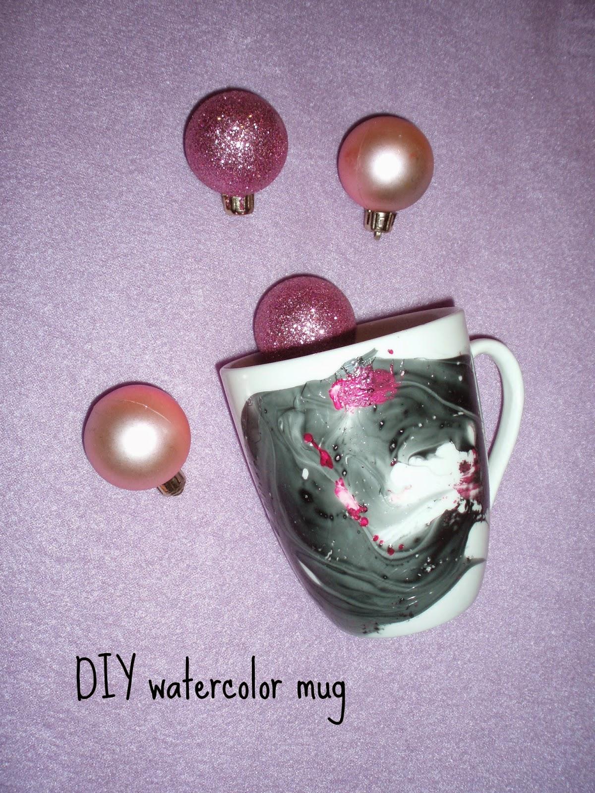 DIY Watercolor Mug κούπα με εφε νερομπογιας