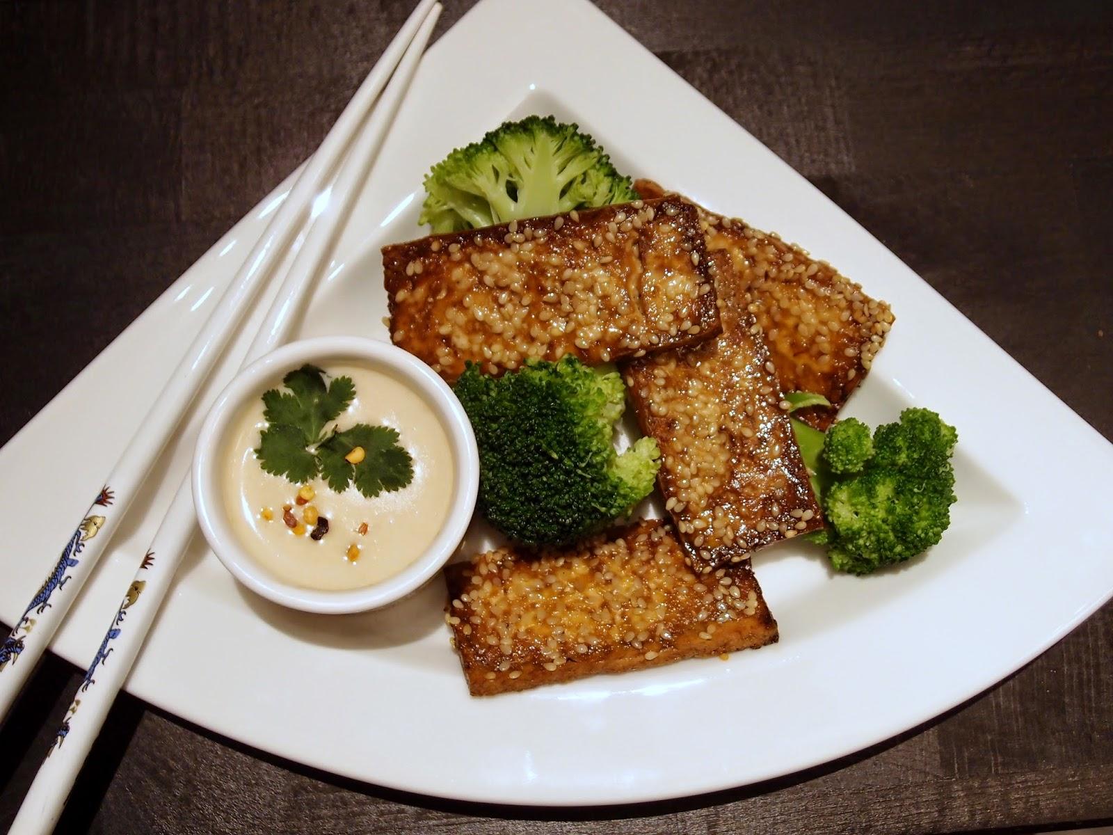 The VegHog: Sesame-roasted tofu with satay sauce and broccoli