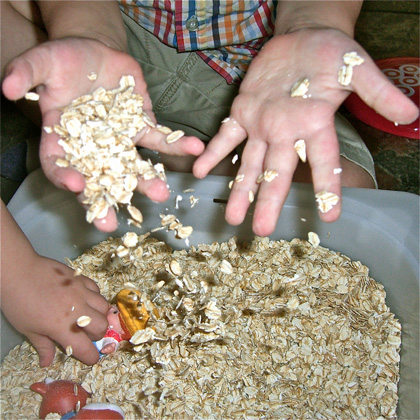Oatmeal Sensory Bin