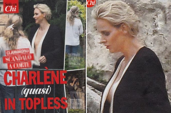 Princess Charlene of Monaco held a informal photoshoot at the residence of the Eze Village (Cote d'Azur) in Monaco