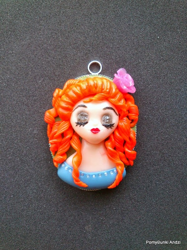 chibi, polymer clay, fimo, premo, redhair, girl, pendant, kawaii,