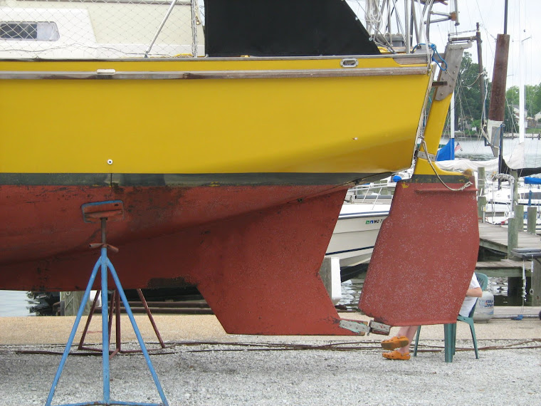 Before rudder and skeg modification