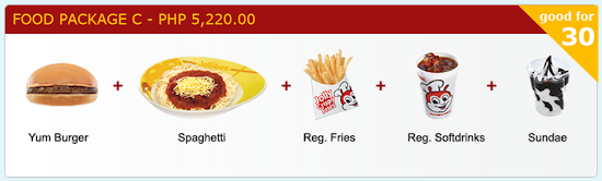 Jollibee Party price 2015 for Food Package C