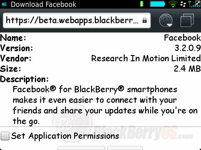 Facebook per blackberry 3.2.0.9 download